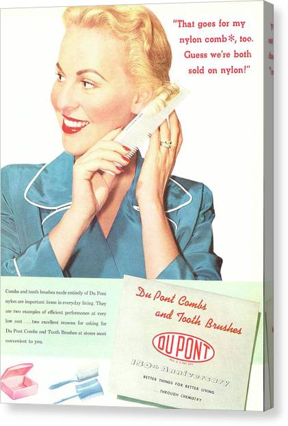 Toothbrush Canvas Print - Nylon Comb Advert From Dupont by Hagley Museum And Archive