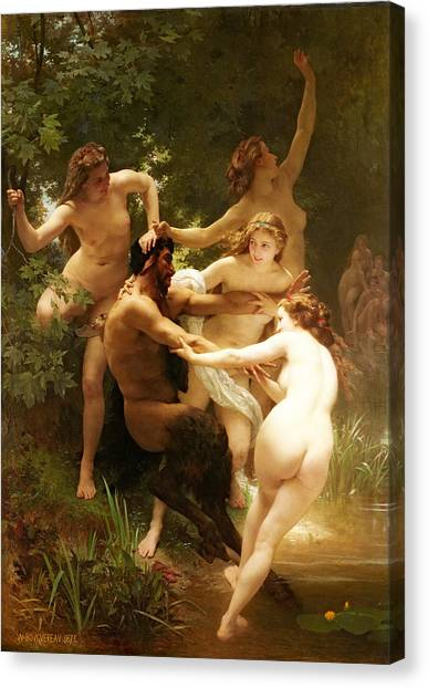 Erotic Framed Canvas Print - Nymphs And Satyr by William-Adolphe Bouguereau