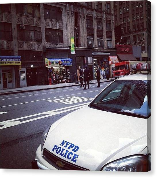 Law Enforcement Canvas Print - Nypd Action Down The Block. They've by Hagop Hagopian