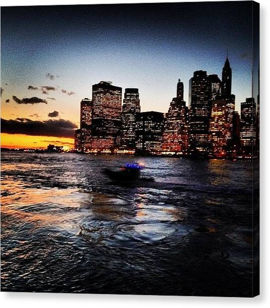 Law Enforcement Canvas Print - #nypd Boat On The Move | #sunset by Jeff Goodyear