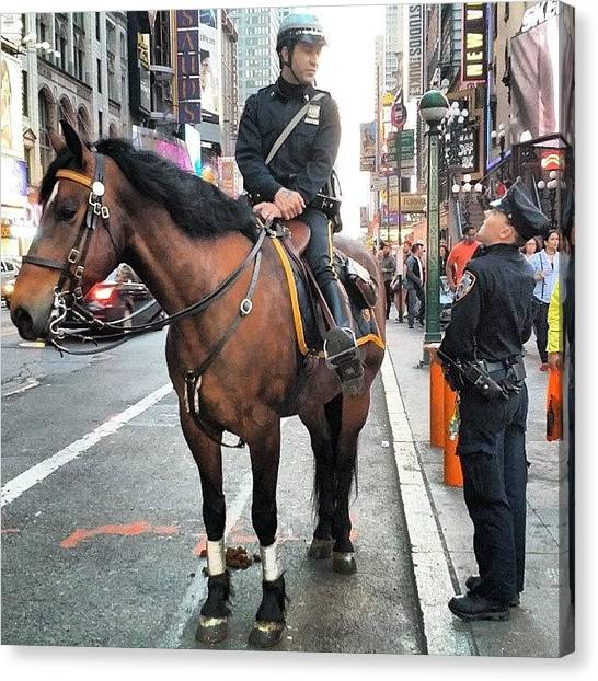 Law Enforcement Canvas Print - #nypd #horse  #timessquare #manhattan by Crook Bladez