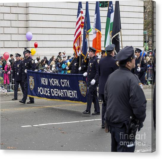 Macys Parade Canvas Print - Nypd - New York City Police Department At Macy's Thanksgiving Day Parade by David Oppenheimer