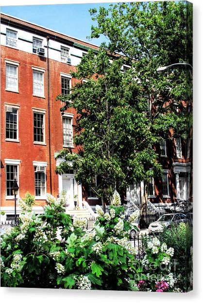 New York University Canvas Print - Nyu Building Outside Washington Square Park Nyc by Anne Ferguson