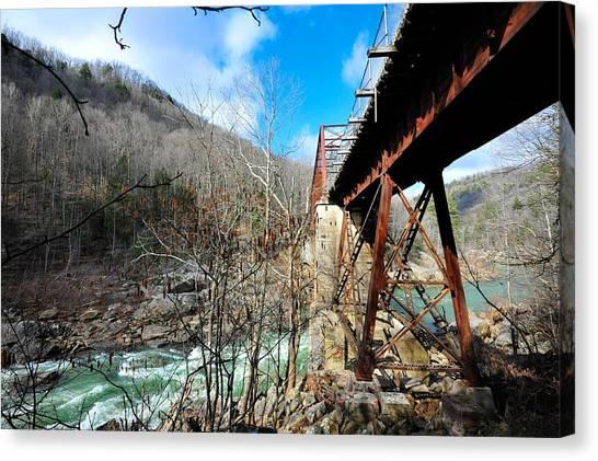 Big South Canvas Print - O And W Bridge Over Rapids by Matthew Johnson