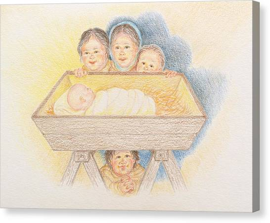 O Come Little Children - Christmas Card Canvas Print