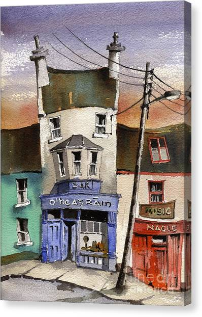 Pub Canvas Print - O Heagrain Pub Viewed 115737 Times by Val Byrne