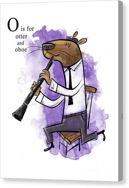 Otters Canvas Print - O Is For Otter by Sean Hagan