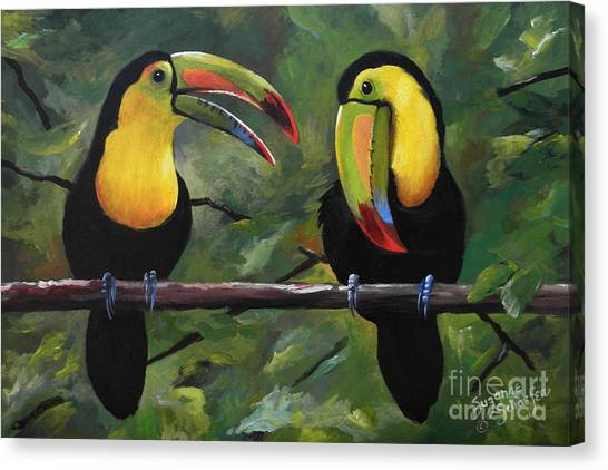 Toucans Canvas Print - O Yeah Yeah Yeah -toucans by Suzanne Schaefer