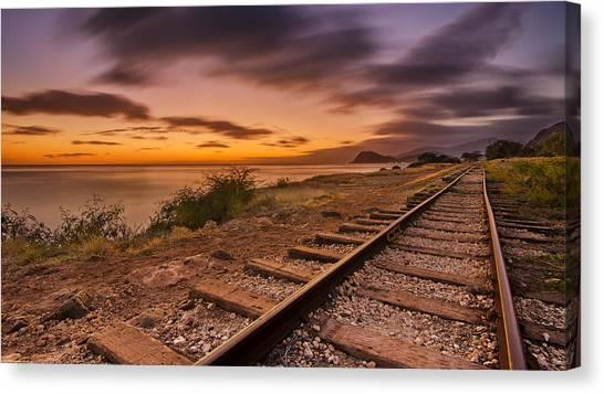 Oahu Rail Road Track Sunset Canvas Print