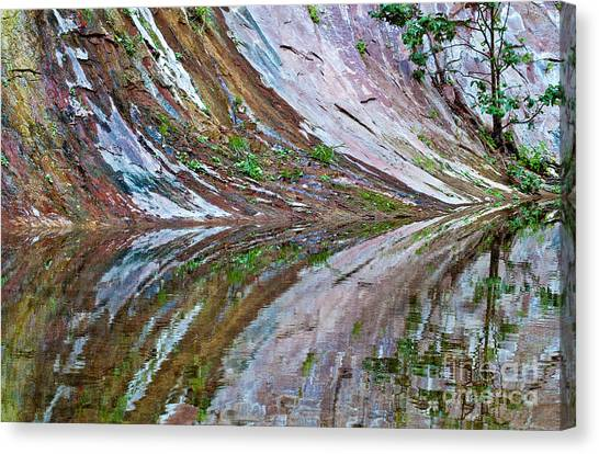 Canvas Print featuring the photograph Oak Creek Canyon Reflection by Mae Wertz