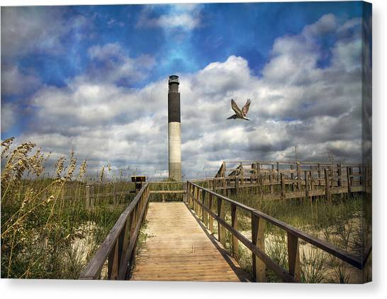 Seagrass Canvas Print - Oak Island Lighthouse by Betsy Knapp