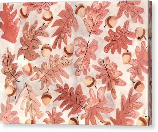 Autumn Canvas Print - Oak Leaves And Acorns by Neela Pushparaj