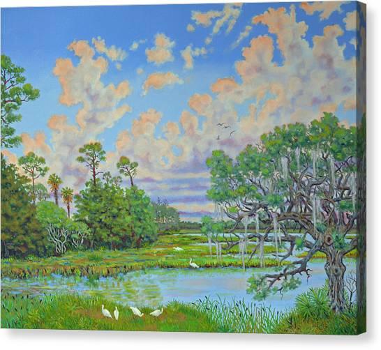 Oak Tree At Botany Bay Plantation Canvas Print