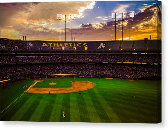 Oakland Athletics Canvas Print - Oakland Coliseum Sunset by Brandon McClintock