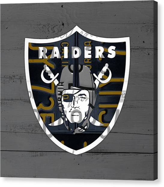 Oakland Raiders Canvas Print - Oakland Raiders Football Team Retro Logo California License Plate Art by Design Turnpike