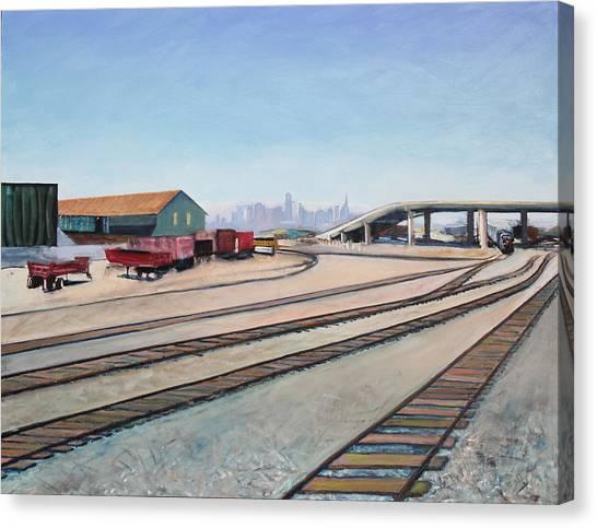 Oakland Train Tracks And San Francisco Skyline Canvas Print