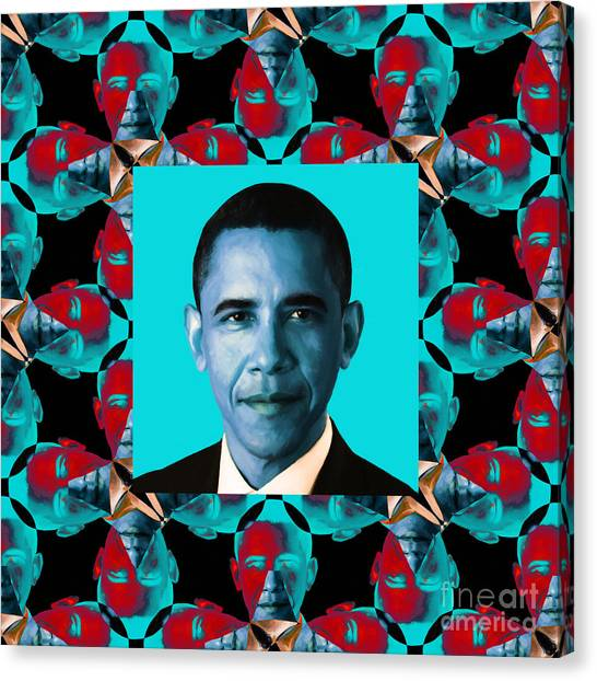 Obama Abstract Window 20130202m180 Canvas Print by Wingsdomain Art and Photography