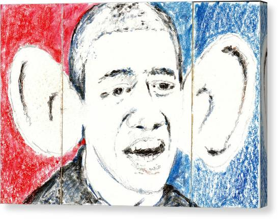 Obamacare Canvas Print - Barack Obama Action Figure Triptych by Art Now And Here