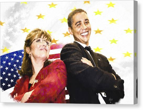Sarah Palin Canvas Print - Obama N Palin by Vivian Frerichs