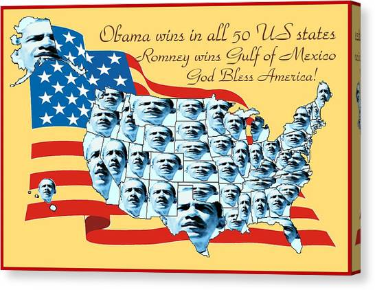Obamacare Canvas Print - Obama Victory Map Election 2012 by Peter Potter
