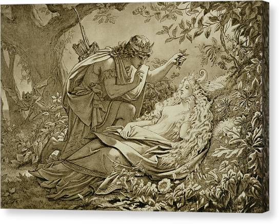Shakespeare Canvas Print - Oberon And Titania by English School