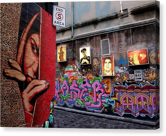 Hip Hop Canvas Print - Obey Shepard Fairey Hosier Lane Melbourne by Arik Bennado