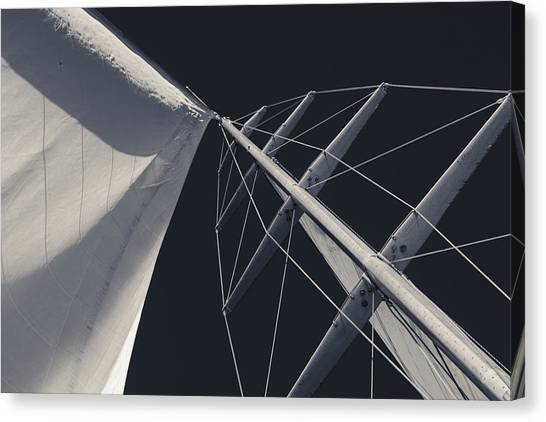 Jibbing Canvas Print - Obsession Sails 6 Black And White by Scott Campbell