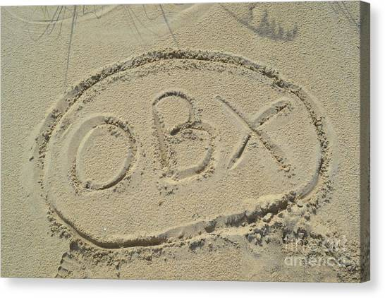 Obx Sign In The Sand Canvas Print