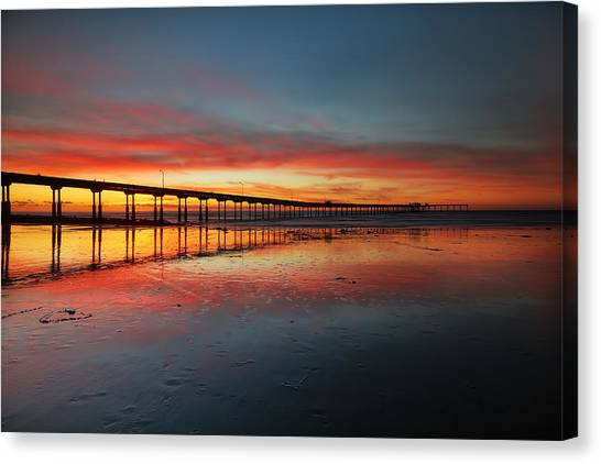 Ocean Beach California Pier 3 Canvas Print by Larry Marshall