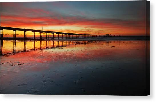 Ocean Beach California Pier 3 Panorama Canvas Print by Larry Marshall