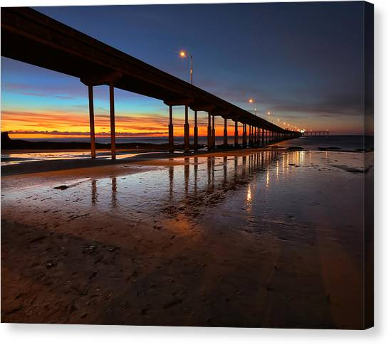 Ocean Beach California Pier 4 Canvas Print by Larry Marshall