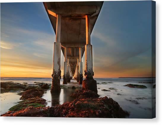 Ocean Beach California Pier Canvas Print by Larry Marshall