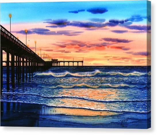 Mission San Diego Canvas Print - Ocean Beach Sunset by John YATO