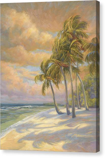 Palm Trees Sunsets Canvas Print - Ocean Breeze by Lucie Bilodeau