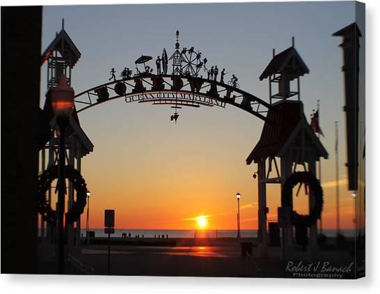Ocean City Boardwalk Arch New Year Sunrise Canvas Print