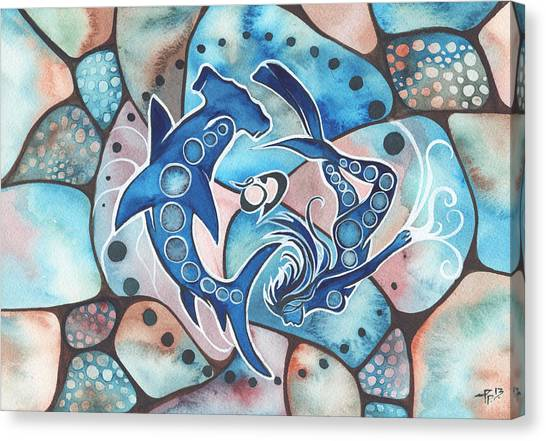 Sharks Canvas Print - Ocean Defender by Tamara Phillips