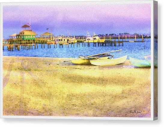 Coastal - Beach - Boats - Ocean Front Property Canvas Print