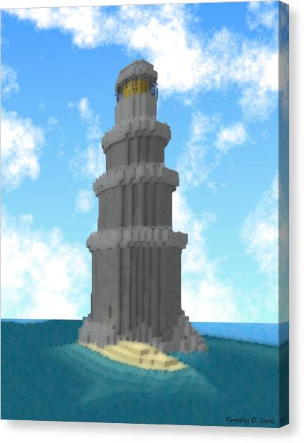 Minecraft Canvas Print - Ocean Light House by Timothy Jones