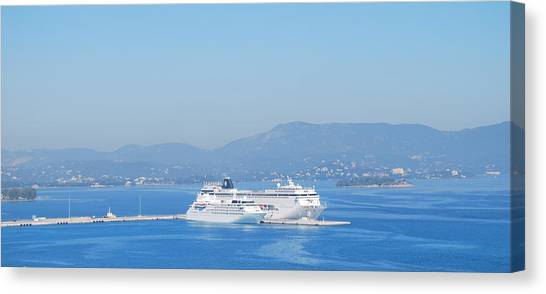 Ocean Liners In Corfu Canvas Print