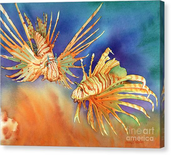 Fish Canvas Print - Ocean Lions by Tracy L Teeter