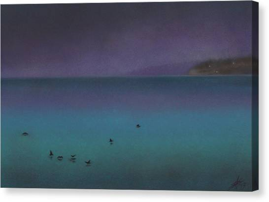Ocean Of Glass With Seabirds Canvas Print