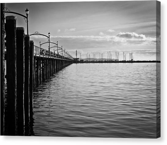 Ocean Pier In Black And White Canvas Print