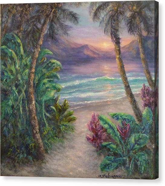 Ocean Sunrise Painting With Tropical Palm Trees  Canvas Print