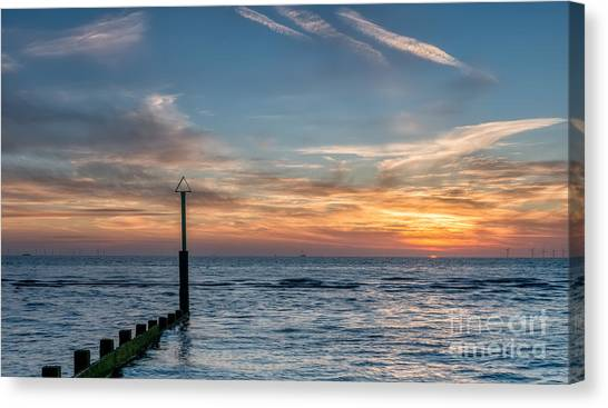 Wind Farms Canvas Print - Ocean Sunset by Adrian Evans