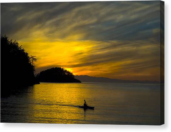 Ocean Sunset At Rosario Strait Canvas Print