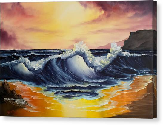 Bob Ross Canvas Print - Ocean Sunset by Chris Steele
