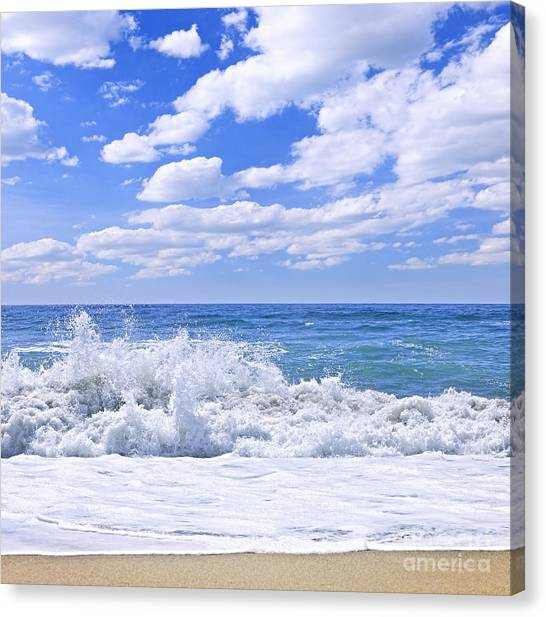 Pacific Coast Canvas Print - Ocean Surf by Elena Elisseeva