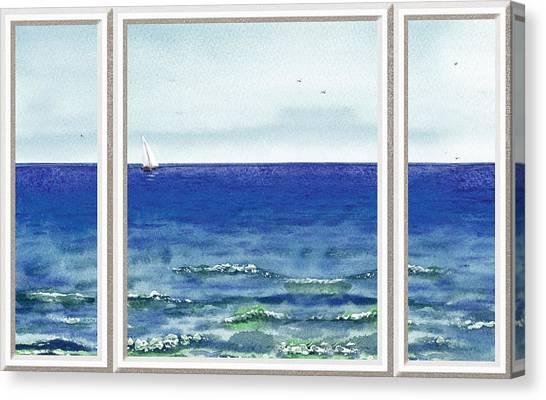 Unique View Canvas Print - Ocean View Window by Irina Sztukowski