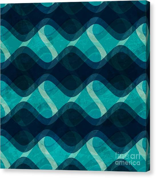 Decoration Canvas Print - Ocean Wave Seamless Texture With Grunge by Gudinny