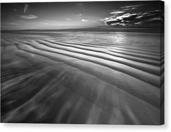 Ocean Waves Seascape Beach Sunrise Photograph In Black And White Canvas Print